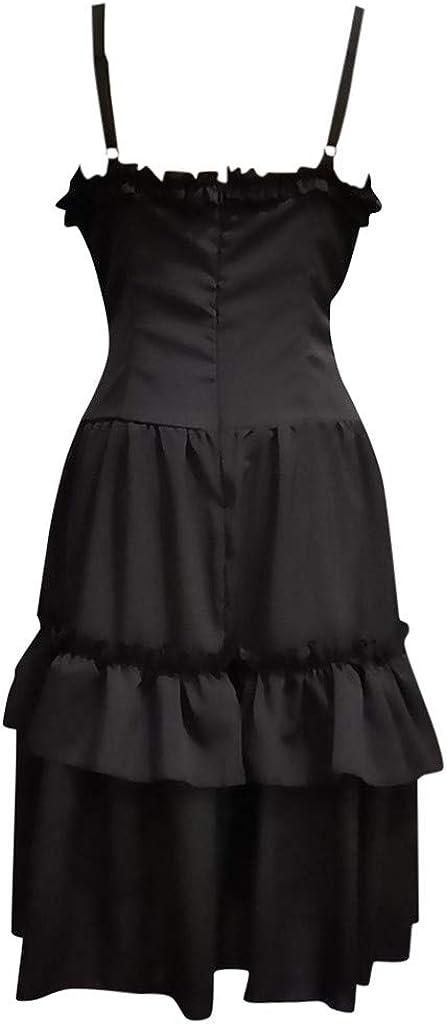 Oksea Damen Gothic Kleid Damen Vintage /Ärmellos Korsagekleid Steampunk Gothic Kost/üm Cosplay Asymmetrischer Sling Gericht Prinzessin Kleid