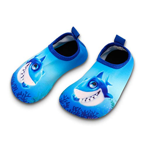 Toddler Kids Swim Water Shoes Quick Dry Non-Slip Water Skin Barefoot Sports Shoes Aqua Socks for Boys Girls Toddler, Shark, 12 Little Kid