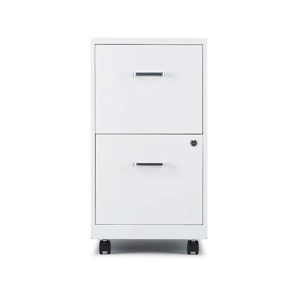 Staples 2806767 2-Drawer Vertical File Cabinet Locking Letter White 18-Inch D (52155)