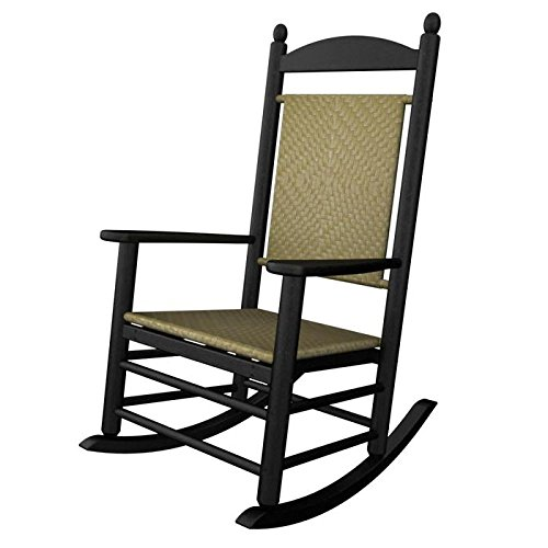 (Rocker Jefferson Woven Chair Frame Finish: Black, Seat/Back Finish: White Loom)