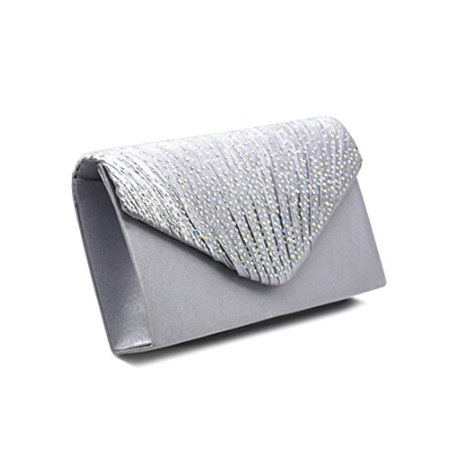Envelope Sparkly Clutch Bag, Womens Satin Envelope Evening Clutches Shiny Beaded Purse Handbags for Wedding Party Prom Silver