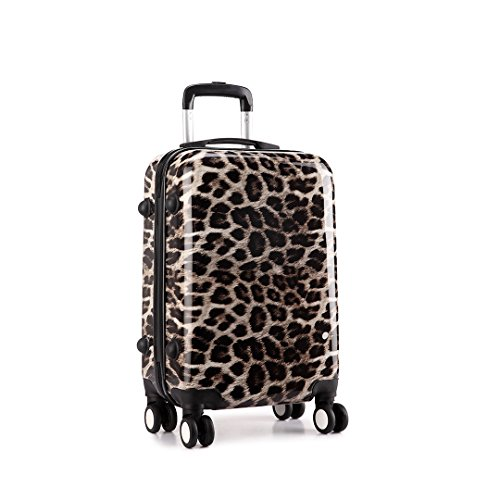 Kono Hard Shell Leopard Print 4 Wheels Trolley Hand Luggage ...