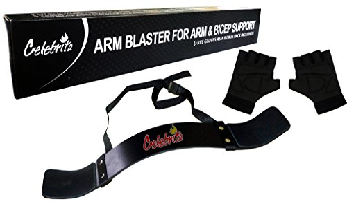 Celebrita Arm Blaster for Arm & Bicep Support + Free Gym Glove Muscle Bomber for Biceps, Triceps, Arm Muscle Strength - Heavy Duty for Body Builders & Weightlifters (Blaster Heavy)
