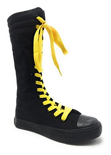 Girls Kids New Dev-10 Canvas Tall Punk Skate Classic Dancing Boot Sneakers Shoes, Consider Going 1 Size up Black Yellow Laces