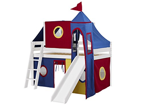 Jackpot Castle Low Loft White Bed with Slide, Red and Blue Tent and Tower