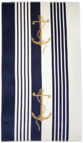 Northpoint Newport Oversized Double Jacquard Plush Velour Beach Towel, 40 by 70-Inch, Anchors
