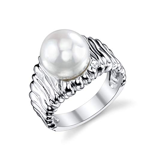 - THE PEARL SOURCE 9-10mm Genuine White Freshwater Cultured Pearl Dana Ring for Women