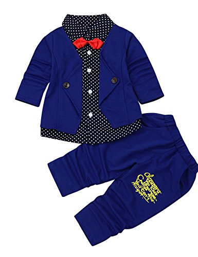 Bunny Blue 4 Piece Crib (Lary intel Kid Baby Boy Gentry Clothes Set Formal Party Christening Wedding Tuxedo Bow Suit Fake Two Piece (4 years, Dark Blue))