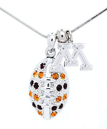 University of Minnesota Football Necklace - Large - Maroon and Gold Crystals - GOPHERS ()