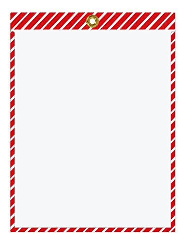 (Striped Job Ticket Holders (Red and White Stripes) - Pack of 30 - Top-Loading with Brass Eyelet. Color Combination is commonly Used for Fire Prevention and Protection Equipment.)
