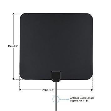 Antena HDTV 1080p 6 mm con amplificador de señal extraíble Antena TV Digital con cable coaxial