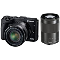 Canon EOS M3 Double Lens Kit 18-55mm f/3.5-5.6 IS STM + EF-M 55-200mm f/4.5-6.3 IS STM (Black) - International Version (No Warranty) Basic Facts Review Image