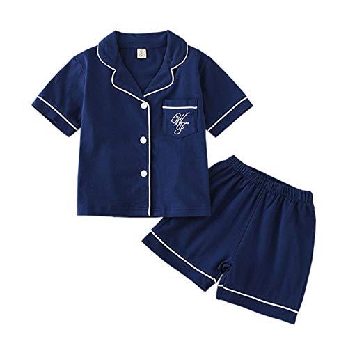 (JWWN Toddler Boys Pajamas Short Set Baby Button Up Sleepwear, Little Kids Sleep Shirt & Shorts 2Pcs PJ Set(Navy,3Years) )