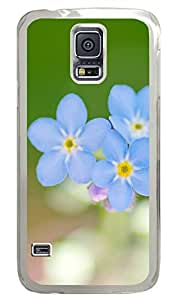Blue Flowers PC Transparent Hard Case Cover Skin For Samsung Galaxy S5 I9600