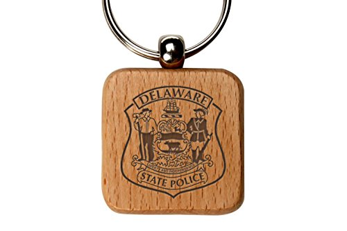 State Logo Square - Delaware State Police Logo Custom Engraved Wooden Square Key Chain By NDZ Performance