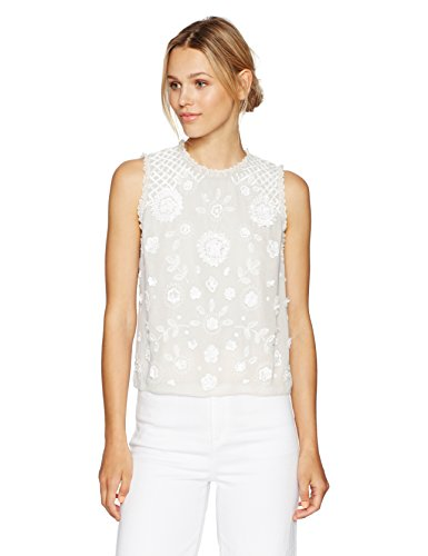 French Connection Women's Dalia Sheer Top, Summer White/Summer White, 2 by French Connection