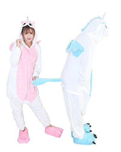 Duraplast Onesies Costume For Couples Jumpsuit Home Pajama Robe Flannel Unicorn (Pink,s) -