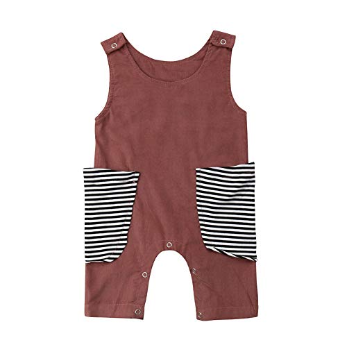 Merqwadd Newborn Infant Baby Girls Boys Overall Romper Jumpsuit Sleeveless Striped Pocket Bodysuit Sunsuit Outfit Clothes Brown 9-18M