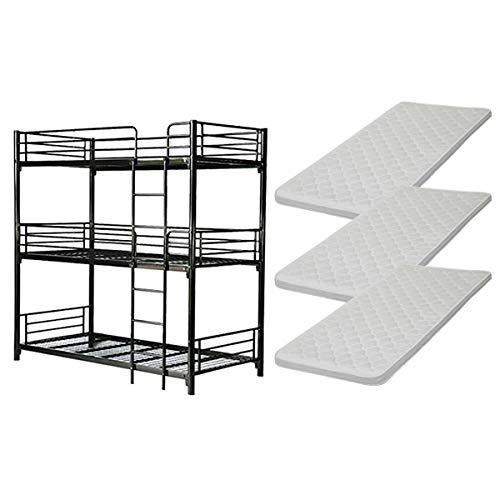 3段ベッド 三段ベッド カラー選択 快適マットレス付き 3枚 セミシングルベッドマットレス セミシングル マットレス 厚さ約6cm 圧縮 コンパクト ポリウレタンフォーム ウレタン セミシングルマット スチールベッド パイプベッド ベッド 寝具 bed142005ss3p (黒) B07S9D1YS7 黒