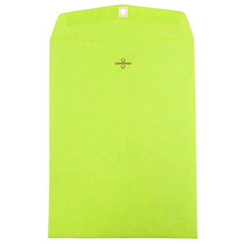 - JAM PAPER 9 x 12 Colored Envelopes with Clasp Closure - Ultra Lime Green - 100/Pack