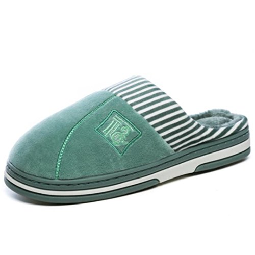 SAMSAY Warm House Slippers Soft Short Plush Lining Slip-On Clog Indoor Shoes w/Embroidered Chinese Character Fu Green dyuMG
