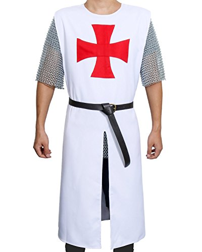 Adult Medieval Templar Knight Crusader Tunic Cosplay Costume Outfit with Belt (White)
