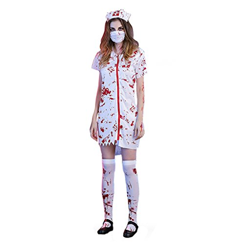 Mens Womens Nurse Doctor Zombie Costume Halloween Hospital Fancy Dress M-XXL (Nurse Halloween Fancy Dress)
