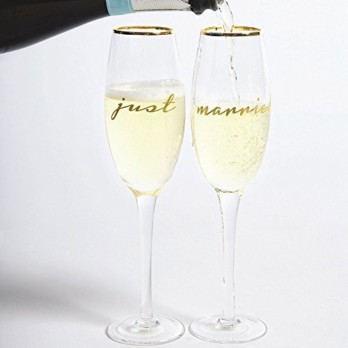 8 Oak Lane EC088MAR Just Married Toasting Champagne Glasses Set, 8 oz, ()