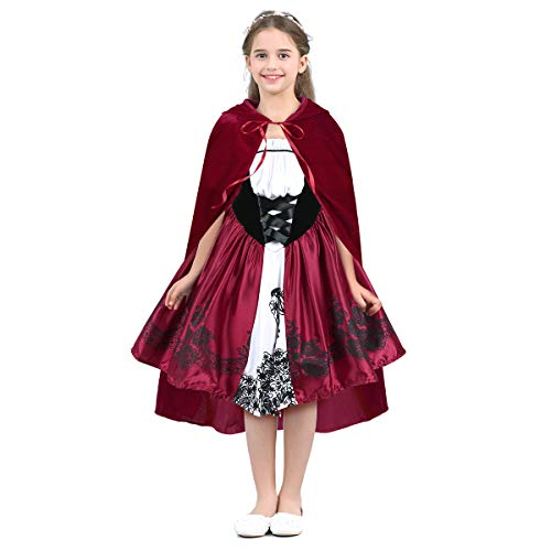 dPois Kids Girls' Little Red Riding Hood Costumes Birthday Halloween Cosplay Fnacy Dresses with Hooded Cloak 2Pcs Set Red 6-8 ()