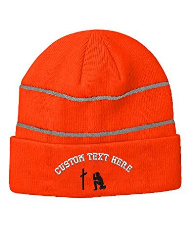 Custom Text Embroidered Cross and Cowboy Pray Unisex Adult Acrylic Reflective Stripes Beanie Skully Hat - Neon Orange, One Size -