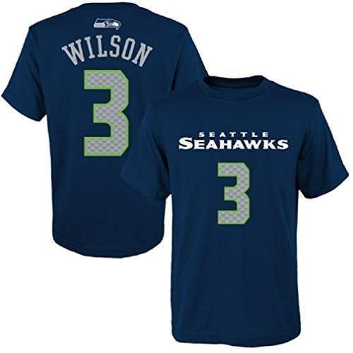 (Outerstuff Russell Wilson Seattle Seahawks #3 NFL Youth Performance Mainliner Name & Number T-Shirt Jersey (Youth Large 14/16))