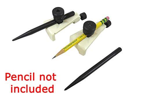 Taytools 468310 Large Adjustable Trammel Head Set Beam Compass, Pencil Holders, Hardened Points