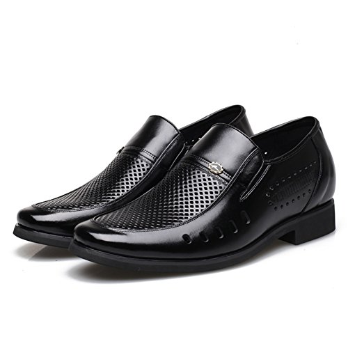 Casual Mens Business Leather Height Shoes Work Black Hollow Increase Invisible Shoes Summer Out Shoes Formal Black xqqRTXgU