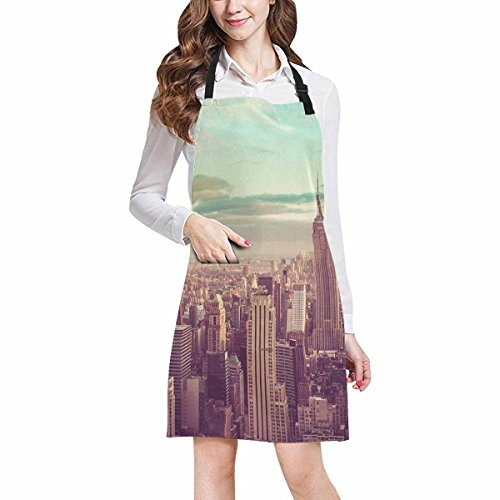 InterestPrint New York City Skyline Manhattan NYC Home Kitchen Apron for Women Men with Pockets, Unisex Adjustable Bib Apron for Cooking Baking Gardening, Large - Spoon Manhattan Cooking