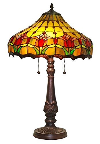 Tiffany Style Stained Glass Tulips Light Table Lamp Shade