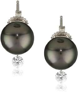 """TARA Pearls """"Dancing Diamond"""" 18k White Gold Natural Color Black Tahitian Cultured Pearl and Diamond Earrings, 10-11mm"""