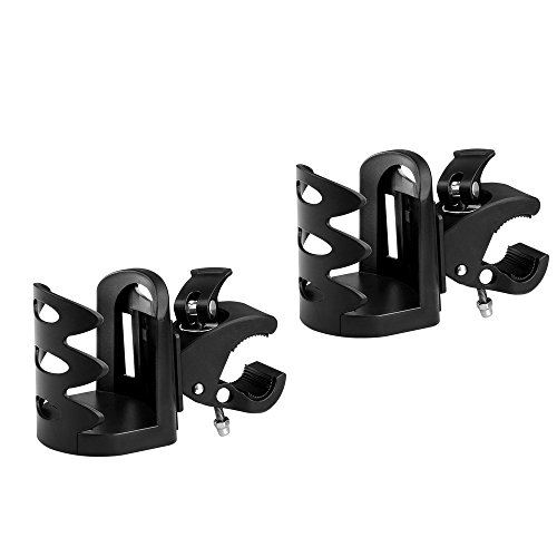 Universal Stroller Cup Holder by Accmor, Attachable Drink Holder for Baby Stroller, Pushchair Bicycle Strollers, Bike, Mountain Bike and Wheelchair (2Pack) by accmor