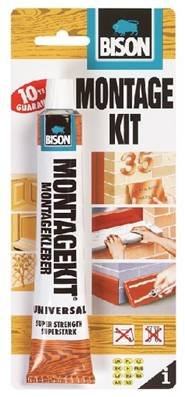 1 x 6305367 Bison Montage Kit Super Strong Gap Filling Universal Construction Grab Adhesive Glue 125g