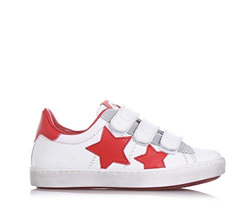 CIAO BIMBI - Chaussure rouge et blanche en cuir, avec triple fermeture en velcro, soignée dans tous ses détails, garçon, garçons