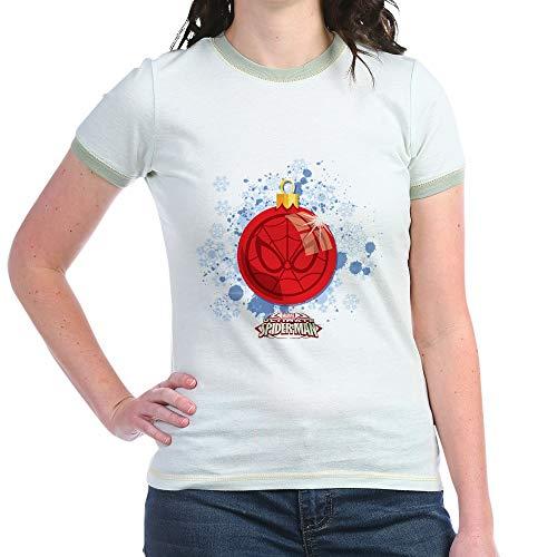 CafePress Holiday Spider Man Christmas Jr. Ringer T Shirt Jr. Ringer T-Shirt, Slim Fit 100% Cotton Ringed Shirt Mint/Avocado