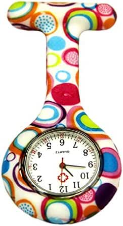 NEW Circle Silicone Quartz Movement Nurse Brooch Fob Tunic Pocket Watch