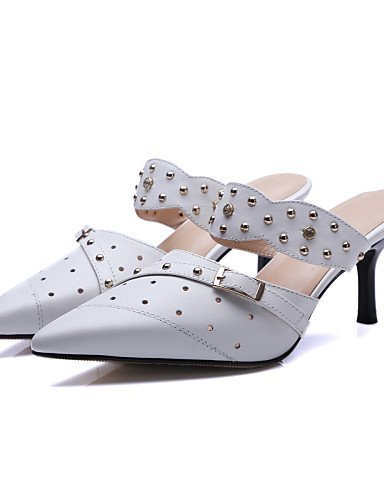 ShangYi Womens Shoes Leather Stiletto Heel Slingback / Pointed Toe Sandals Party & Evening / Dress /(Genuine leather) White