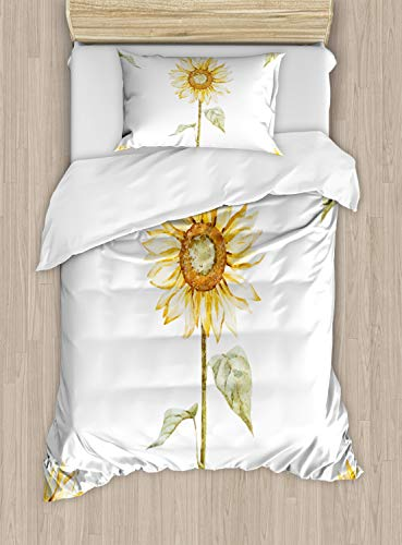 Ambesonne Sunflower Duvet Cover Set, Sunflowers with Watercolor Painting Effect and in Minimalistic Design Artwork, Decorative 2 Piece Bedding Set with 1 Pillow Sham, Twin Size, Yellow Green