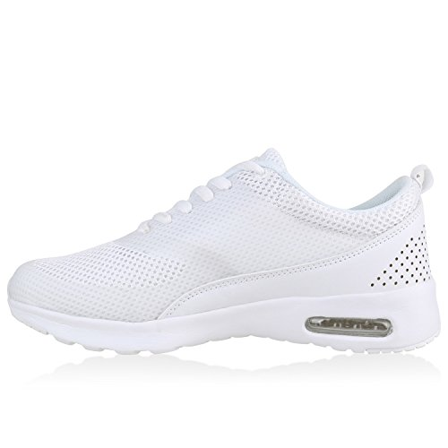 Stiefelparadies Damen Sportschuhe Runners Sneakers Laufschuhe Fitness Trendfarben Sportliche Schnürer Flandell Weiss Total