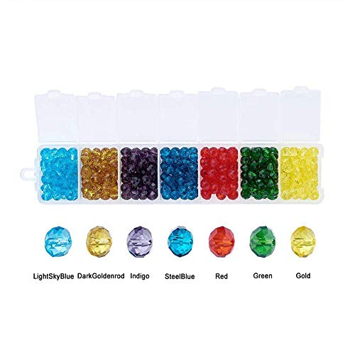 Pandahall About 378pcs/box 7 Colors Briolette Faceted Glass Beads 6x4mm Crystal Rondelle Beads for DIY Jewelry ()