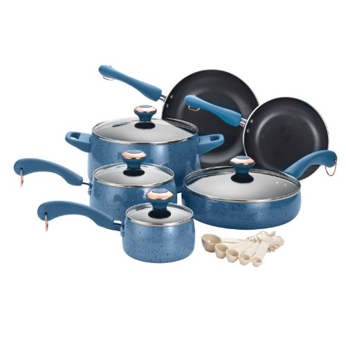 [Paula Deen Signature Porcelain Nonstick 15-Piece Cookware Set, Blueberry Speckle] (Blue Speckle Enamel)