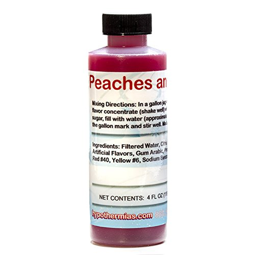 (Peaches and Cream Shaved Ice and Snow Cone Flavor Concentrate 4 Fl Ounce Size)