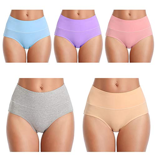 TIMPOM Womens Cotton Underwear Panties?Girls Soft Breathable Underwear Women, Mid-High Waist Comfort Hipster Briefs 5 Pack (Small/Size 5, Light-Color)