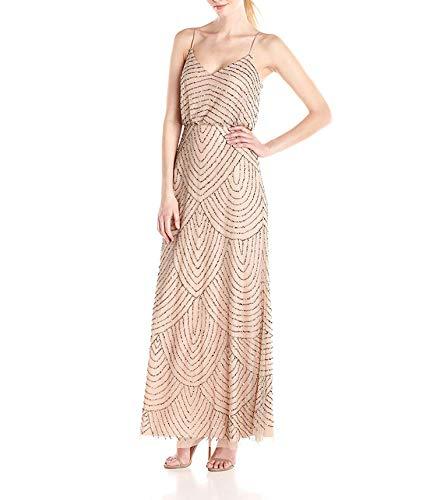 (AAAA Women's Long Beaded Blouson Gown,2,Amethyst/Gunmetal)