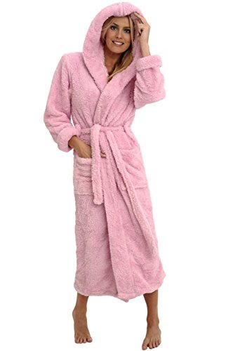Alexander Del Rossa Womens Fleece Robe, Long Plush Hooded Bathrobe, Small Medium Pink (A0304PNKMD)